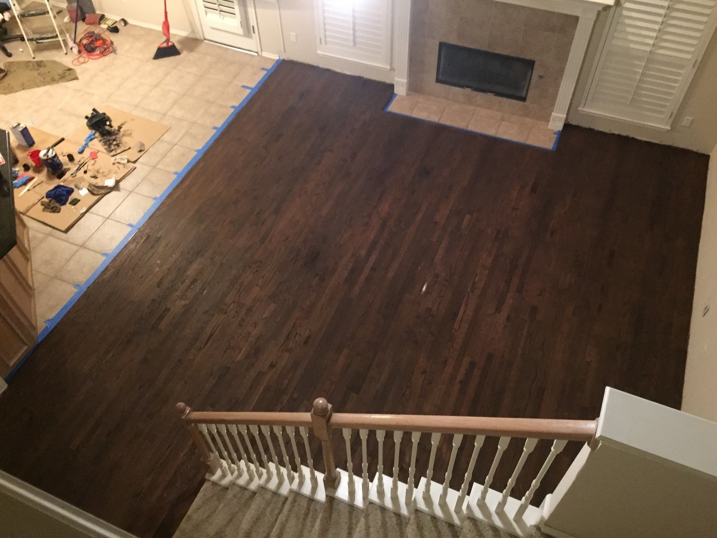 stain oak flooring dark