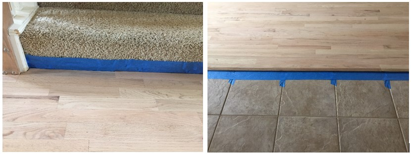 tape off areas before staining floor